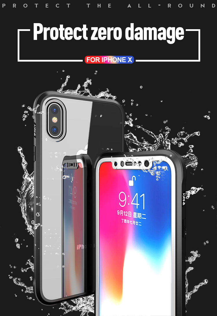iPaky Full Body Clear Transparent Acrylic & TPU Case With Tempered Glass Film For iPhone X