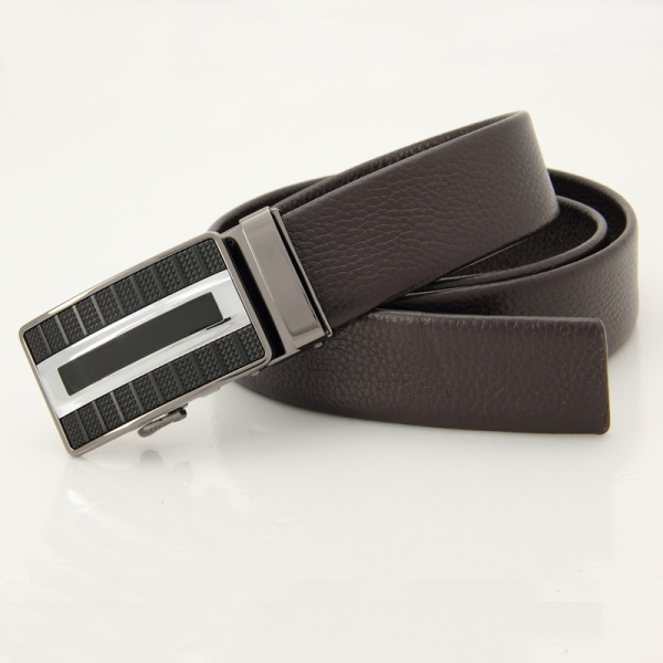 Mens Business Fashion Automatic Buckle Waistband Strap Black Coffee Cowhide Leather Belt