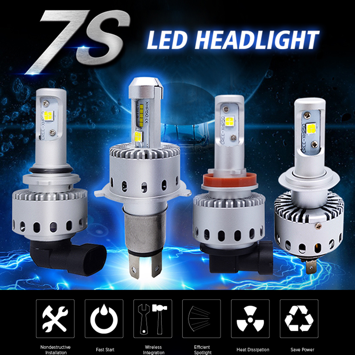 Autoleader 7S 40W 8000LM Car LED Headlights Bulbs H1 H3 H4 H7 H11 9005 9006 6500K White