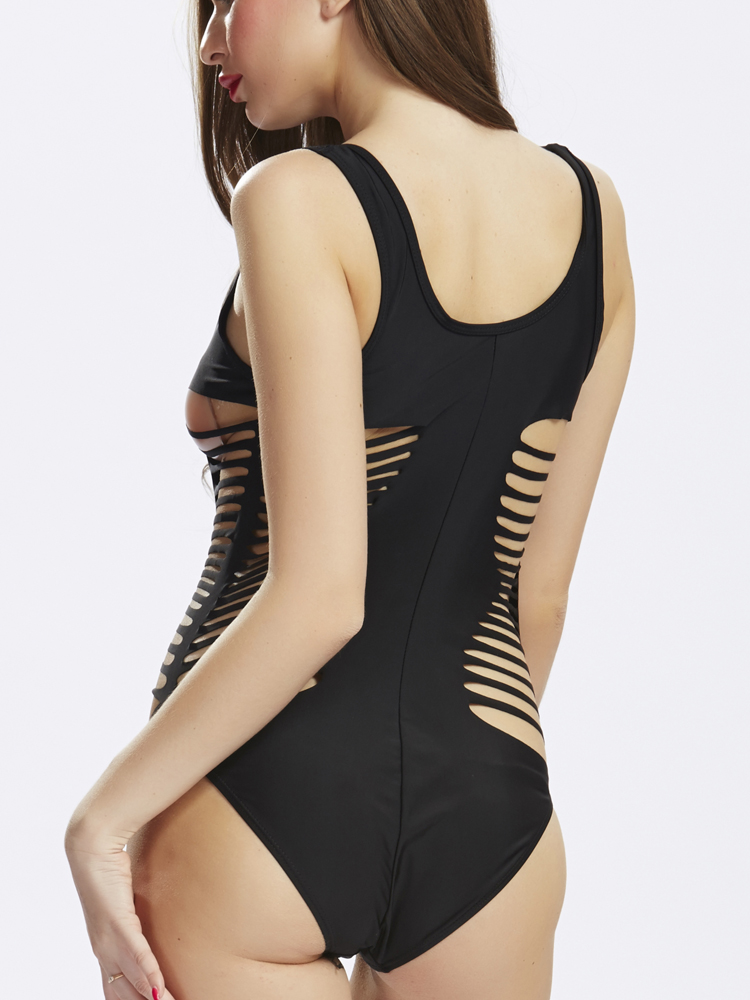Sexy U Neck Cut Out One-Piece Bandage Monokini Swimsuit Beachwear
