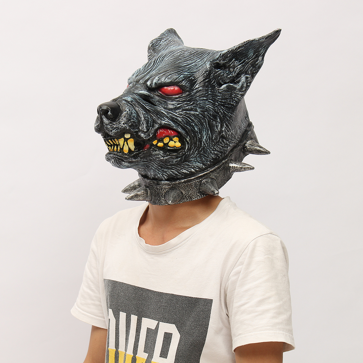 Wolfhound Head Mask Creepy Animal Halloween Costume Theater Prop Latex Party Toy