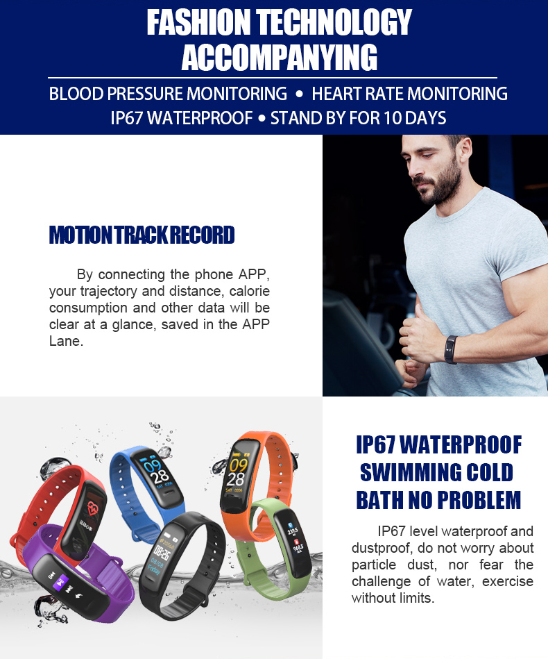 Bakeey C1 Plus Blood Pressure Oxygen Heart Rate Monitor Fitness Tracker bluetooth Smart Wristband