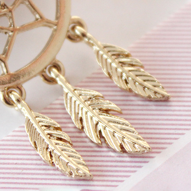 Trendy Feather Charm Earring Gold Leaf Hollow Women Earrings