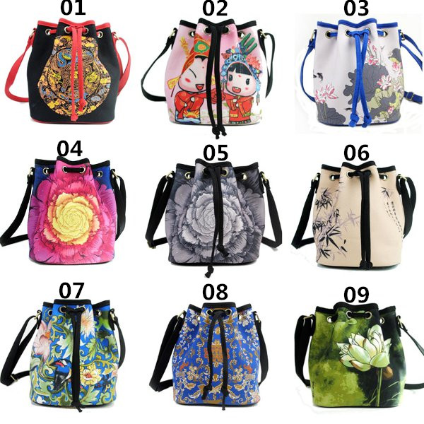 Women Tribe Flower Canvas Bucket Bags Chinese Style Drawstring Crossbody Bags Naitonal Ink Bags