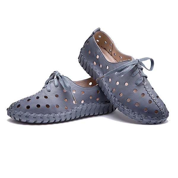 SOCOFY Leather Hollow Out Breathable Stitching Lace Up Comfortable Shoes