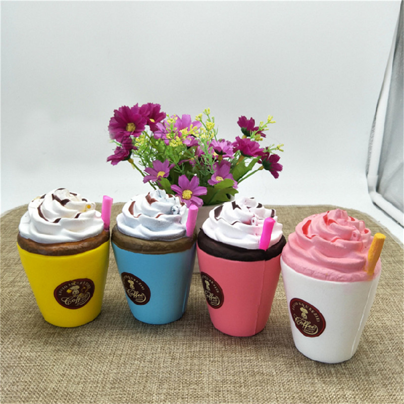 Jumbo Coffee Cup Squishy Cream Scented Slow Rising Kids Toy Soft Phone Strap
