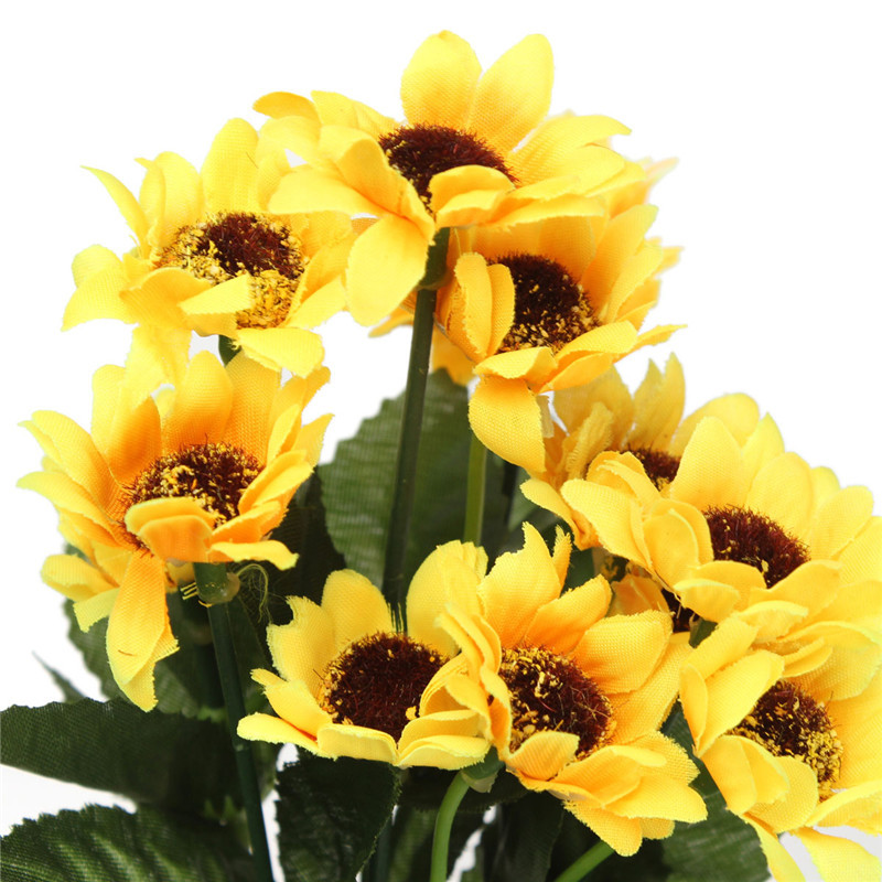 29cm Fake Silk Artificial 13 Heads Sunflower Flower Bouquet Simulation Floral Garden Home Decor
