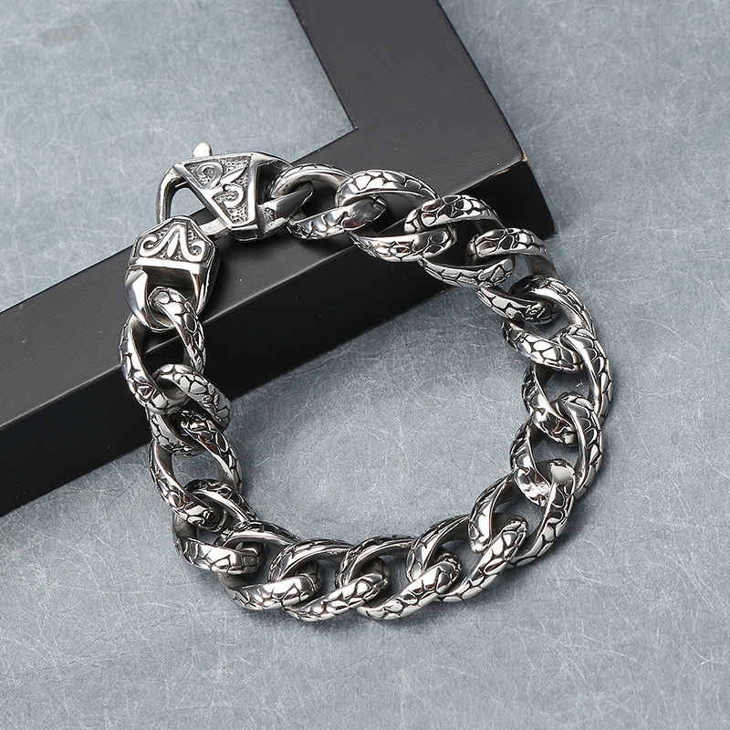 Men Punk 316L Stainless Steel Chain Leopard Print Bracelet