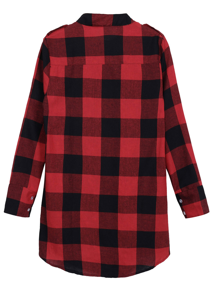 Women Casual Long Sleeve Plaid Loose Pocket Button Long Blouses