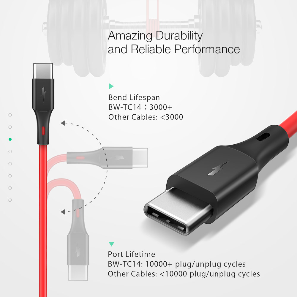 BlitzWolf® BW-TC14 3A USB Type-C Charging Data Cable 3ft/0.91m For Oneplus 7 Xiaomi Mi9 Redmi Note 7 f1 S10