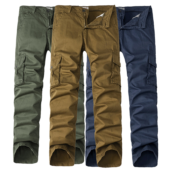 Mens Military Tactical Casual Straight Leg Solid Color Cotton Cargo Pants