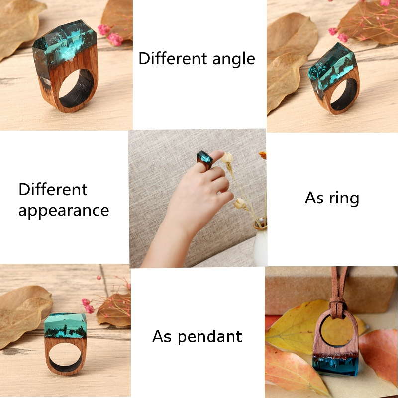 Creative Secret Forest Handmade Blue Snowscape Charm Wood Ring Unisex Jewelry Unique Gift