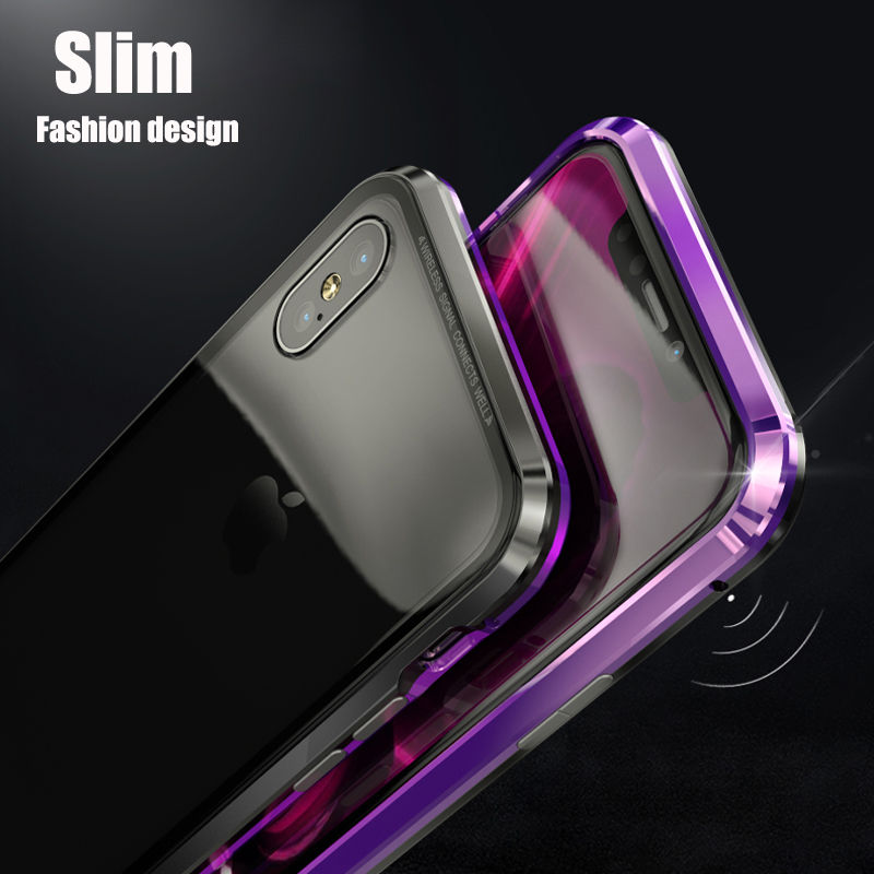 Bakeey Upgraded Version Magnetic Adsorption Metal Clear Glass Protective Case for iPhone X