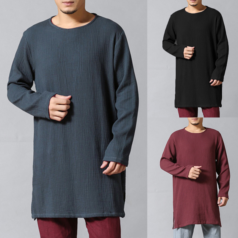 Mens Autumn Solid Color Chinese Style Cotton T-shirts