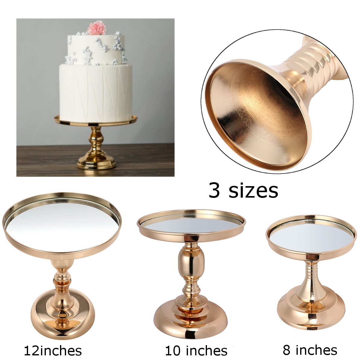 Gold Plated Mirror Cake Pan Stand Glass Round Wedding Display Pedestal 8 10 12 Inch