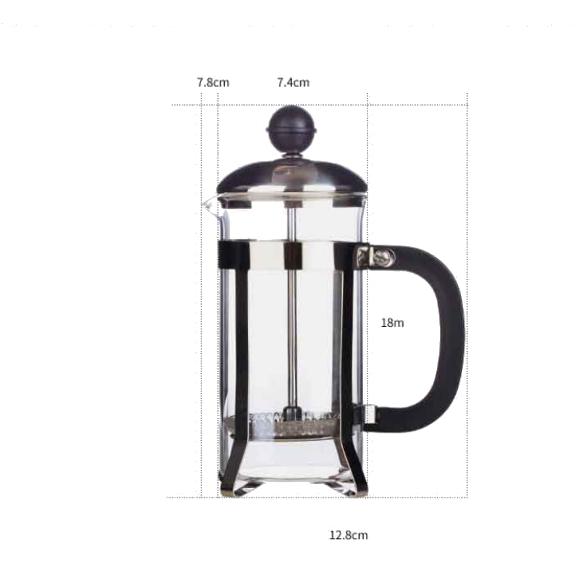 350ML Stainless Glass Cafetiere French Filter Coffee Tea Kettle Press Plunger