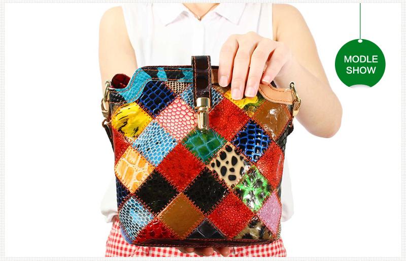 Women Genuine Leather Patchwork Crossbody Bag