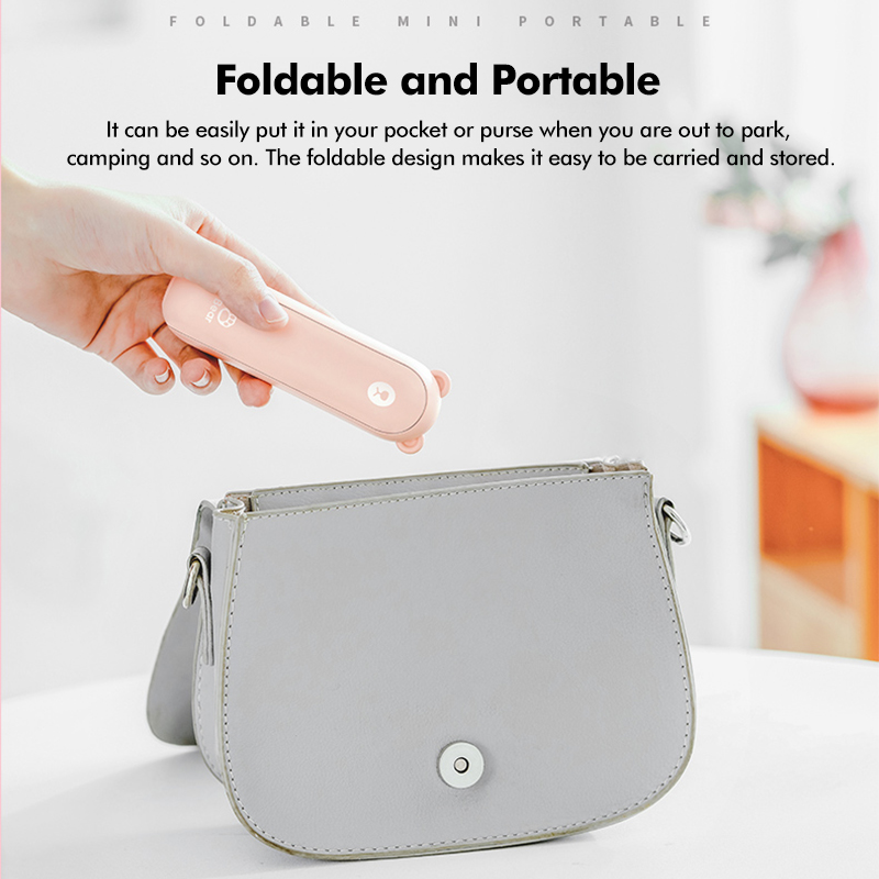 2000mAh USB Rechargeable Foldable Handheld Mini Fan Operated Pocket Desk Fan Two Speeds Whisper Quiet Power Bank with Flashlight Function for Summer Home Office