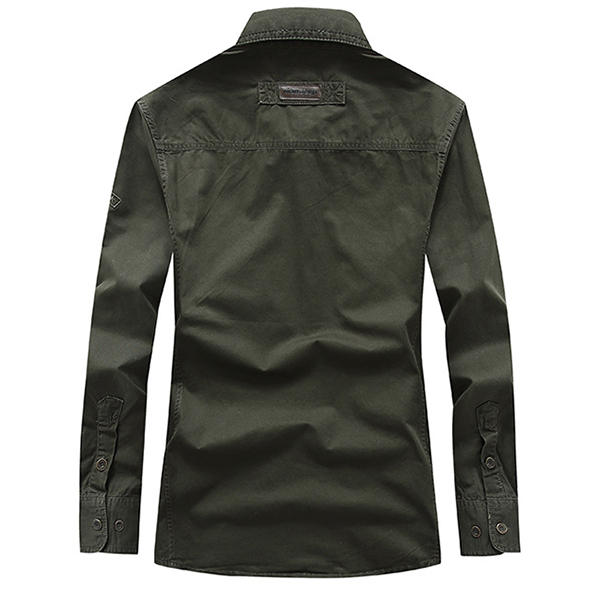 Mens Outdoor Cotton Military Spring Autumn Pocket Casual Cargo Work Shirt