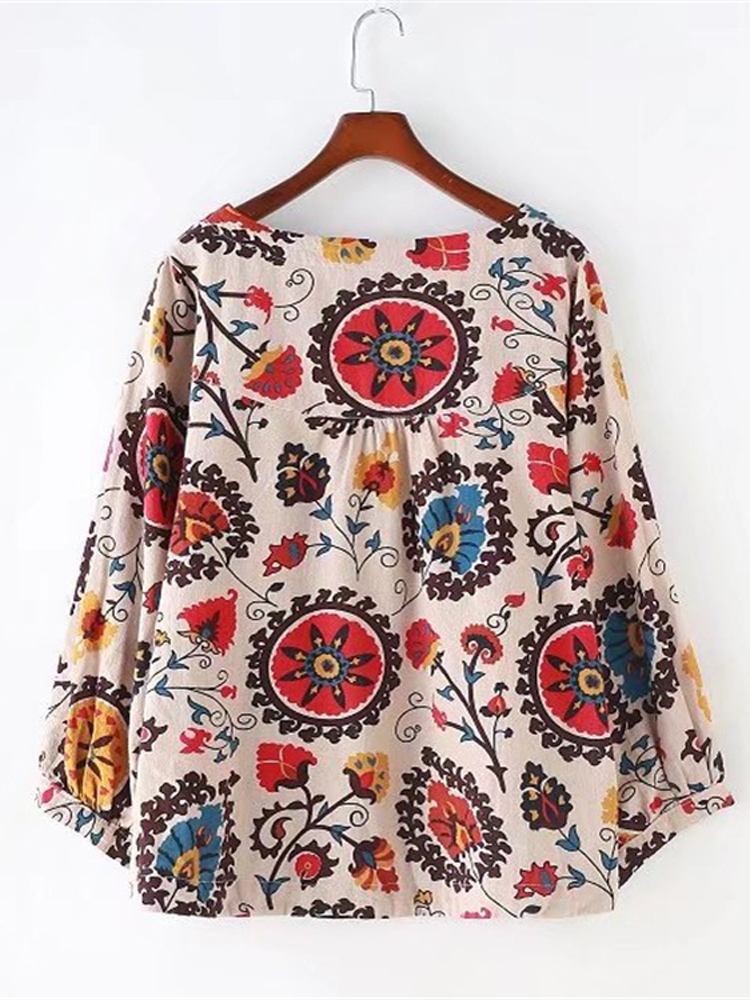 Casual Women Puff Sleeve Loose Floral Shirts
