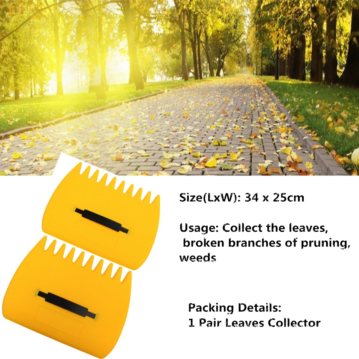 A Pair of Yellow Ten Tooth Gardening Leaf Rake Cleaning Tools