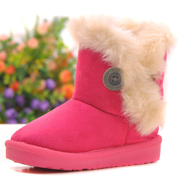 Children Suede Artificial Fur Lining Snow Boots Warm Soft Winter Shoes