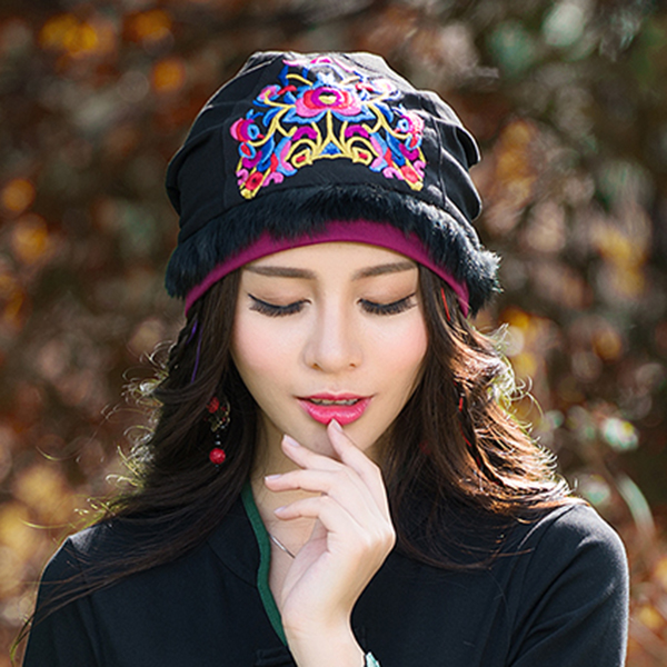 Cotton Ethnic Style Skullcap Embroidery Printting Beanie Hat