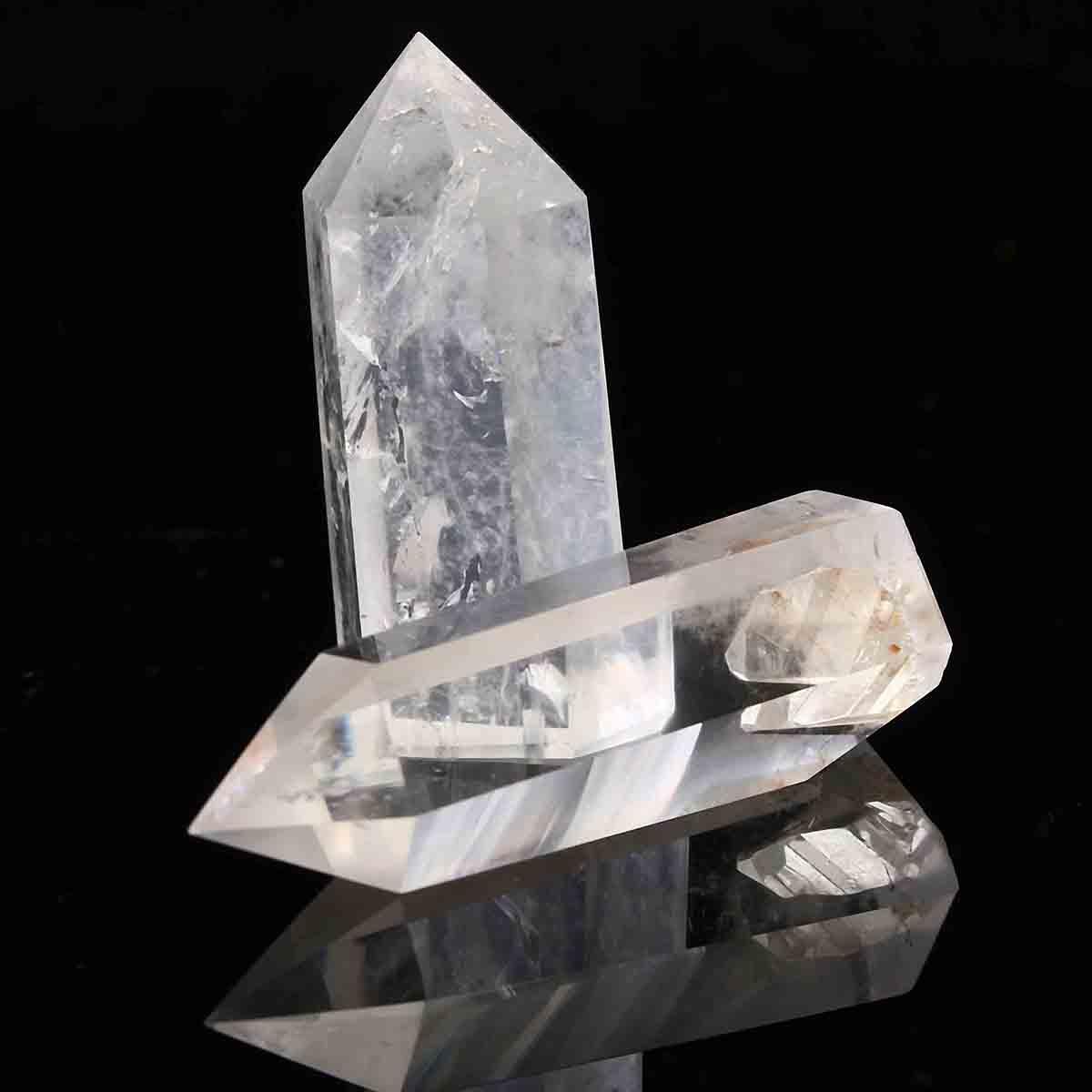 2pcs Transparent Clear Healing Seed Rock Quartz Crystal Wand Decoration