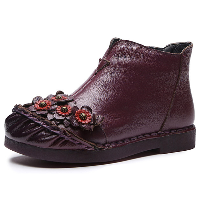 Retro Round Toe Flowers Pattern Leather Ankle Boots