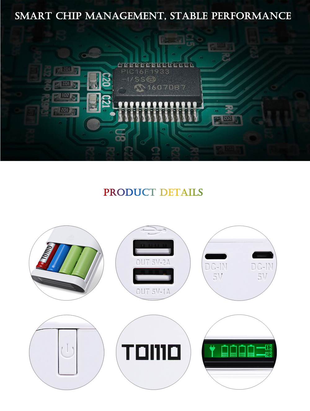 TOMO T4 4pcs 18650 Batteries Charging Station Power Bank Case Diy Box