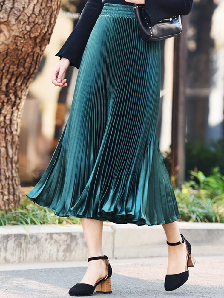 Elegant Women 11 Colors Pleated Skirts