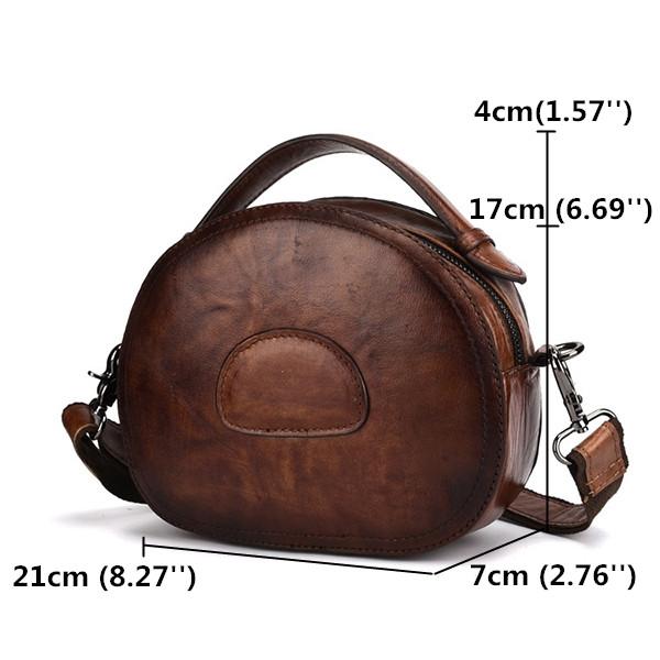 Women Vintage Genuine Leather Cowhide Crossbody Bag