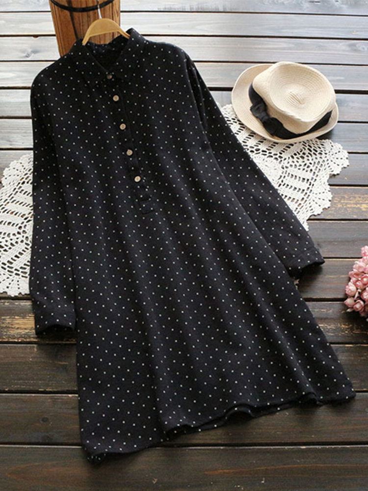 Women Vintage Polka Dot Crew Neck Long Sleeve Shirt Blouse