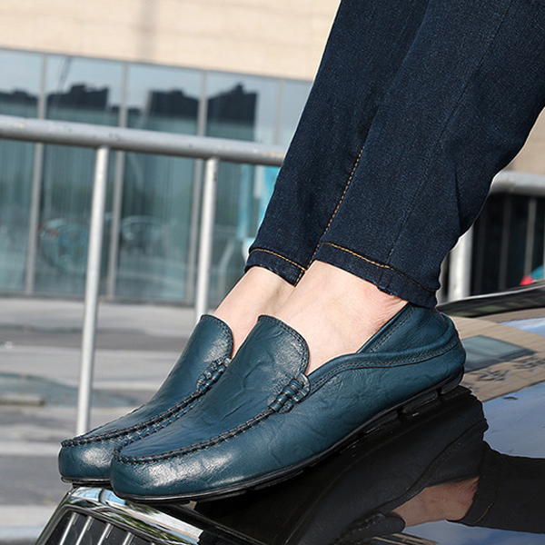 Men Soft Leather Formal Shoes Slip On Business Shoes Casual Driving Shoes