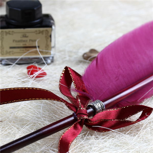 Vintage Fashion Wine Red Quill Goose Feather Dip Pen with Ink Bottle for Home Office School