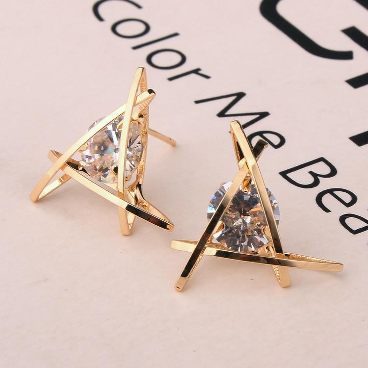 Exquisite Triangle Ear Stud Zircon Crystal Earrings