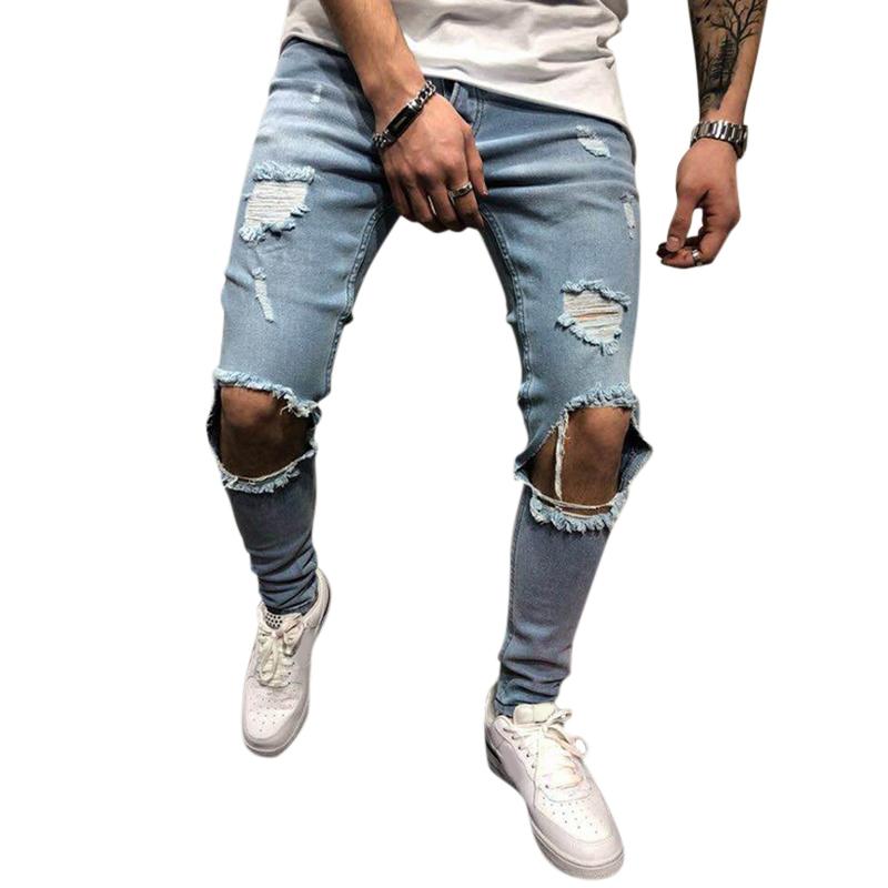 Mens Denim Pants Holes Slim Fashion Mid Rise Jeans