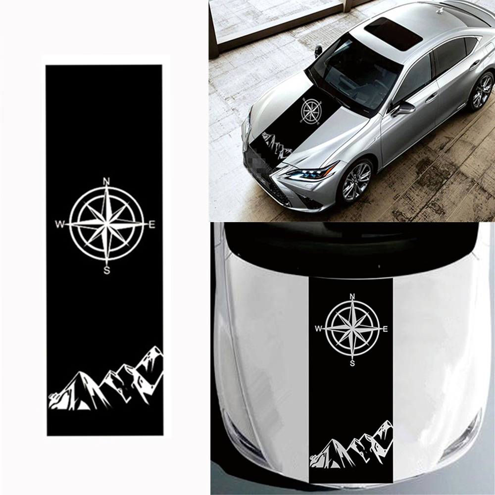 130x40cm Compass Pattern Car Hood Stickers Vinyl Decals Universal for Jeep for Wrangler Rubicon JK C