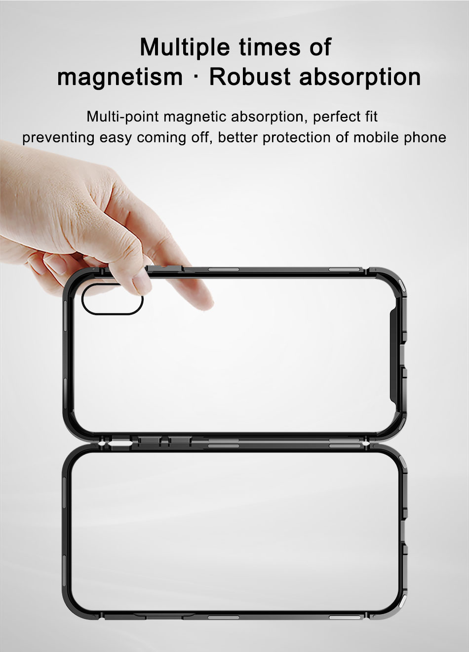 Baseus Magnetic Adsorption Aluminum Tempered Glass Protective Case For iPhone X