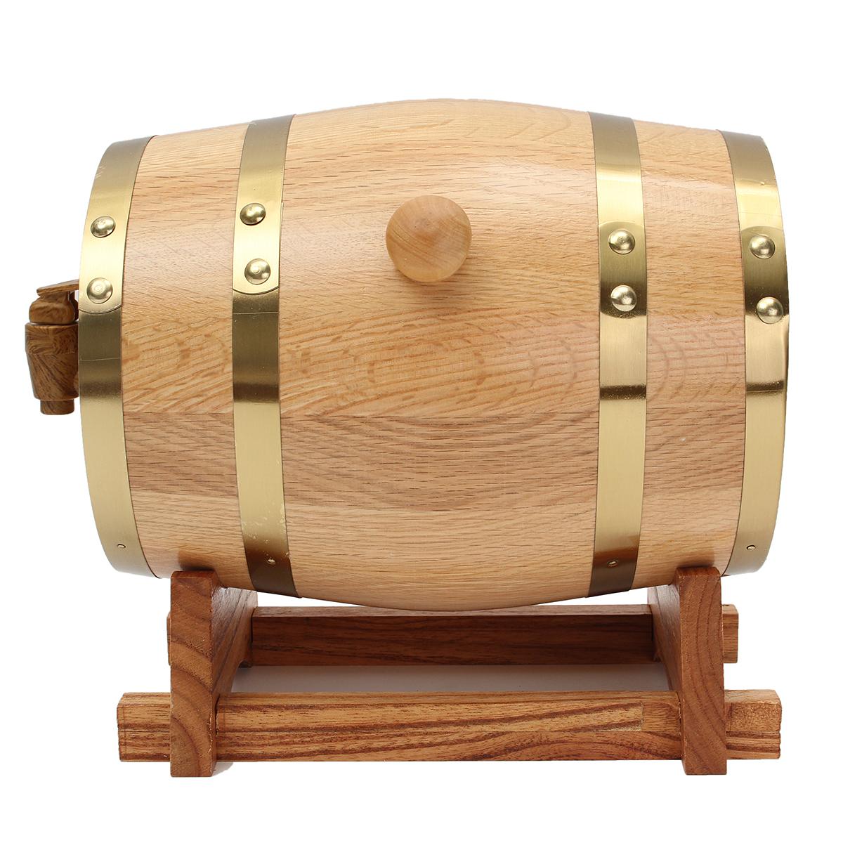 3L Wooden Barrel with Spigot for Whisky Wine Liquor Homebrew