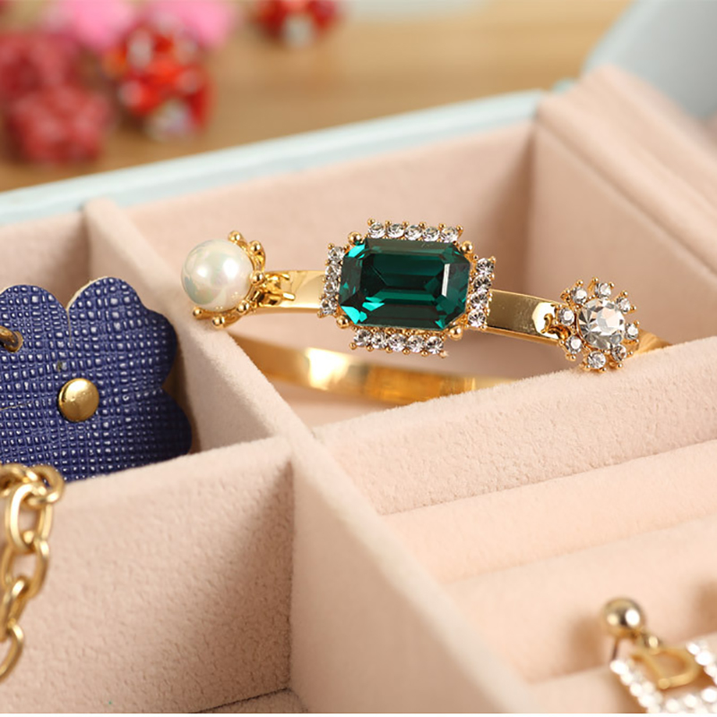 3 Colors Bow Jewelry Storage Box Ring Earrings Necklace Case