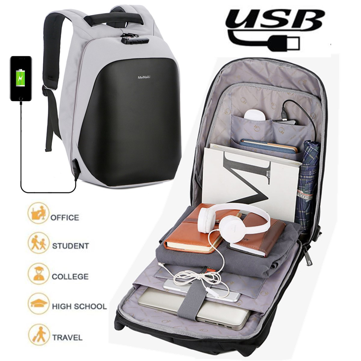 Anti Theft Code Lock Laptop Backpack Travel Bag With USB Charging Port For Laptop Notebook Tablet PC Under 15.6 Inch