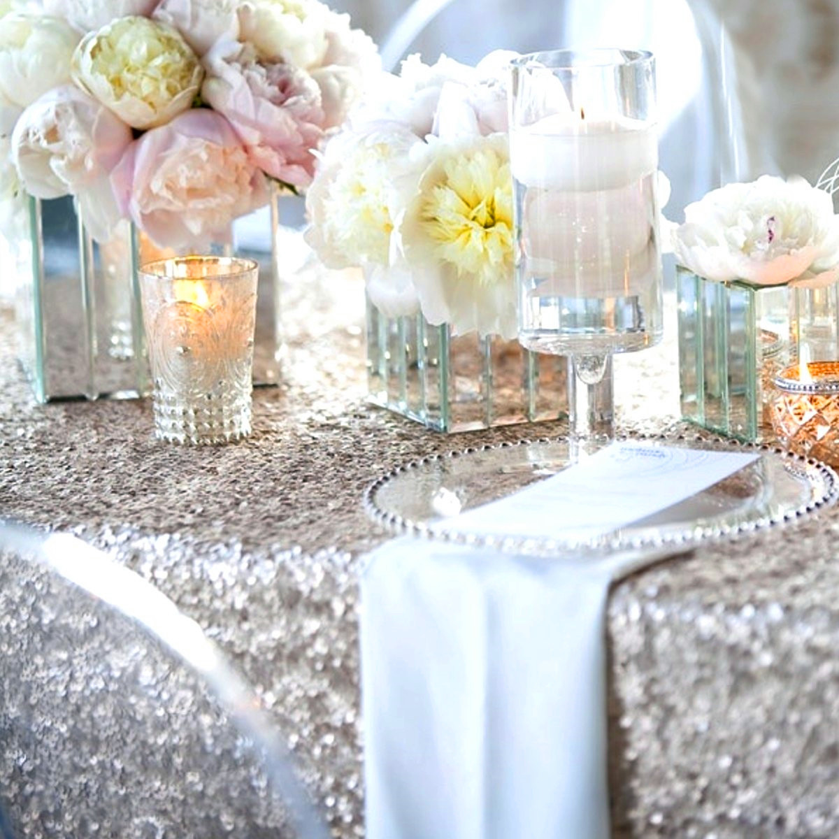 100*150cm Rectangular Silver Sequin Tablecloth Wedding Party Banquet Table Decoration