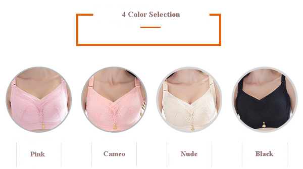 Plus Size Gather CDE Cup Wireless Soft Cotton Comfort Bras