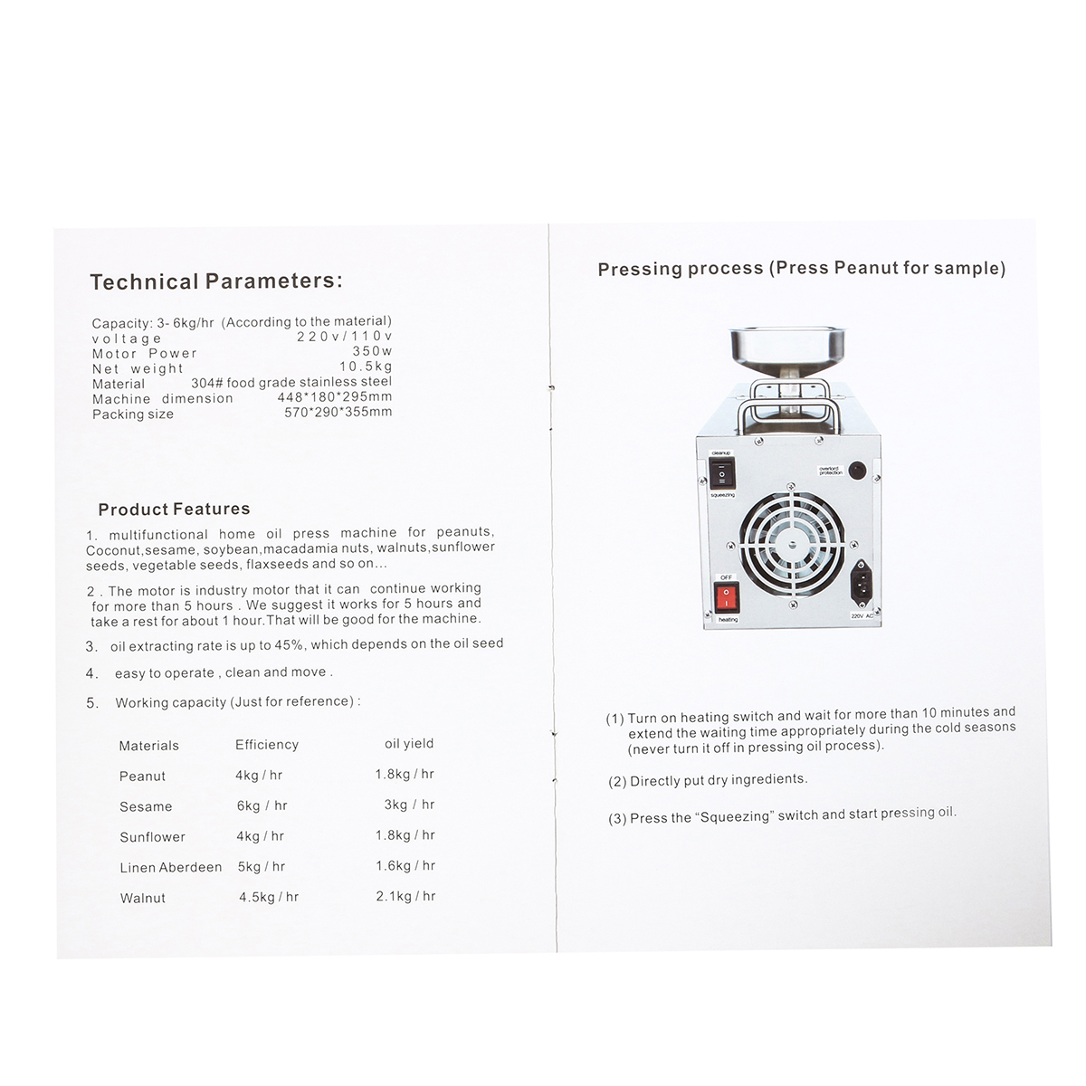 220V Automatic Small Oil Press Machine Stainless Steel Cold Hot-press Machine