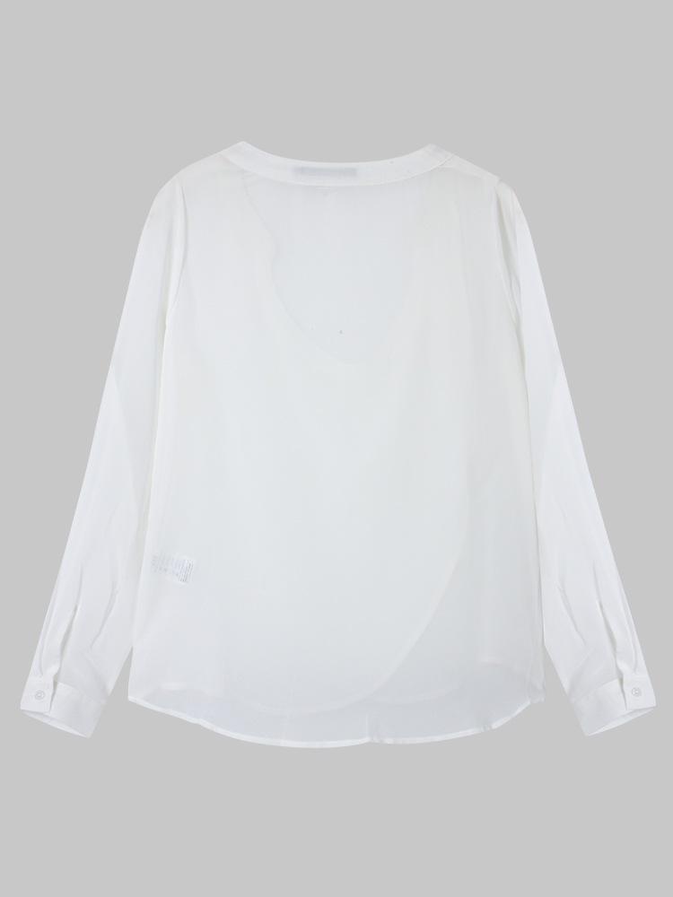Casual Women Ruffles V Neck Chiffon Top T-Shirt