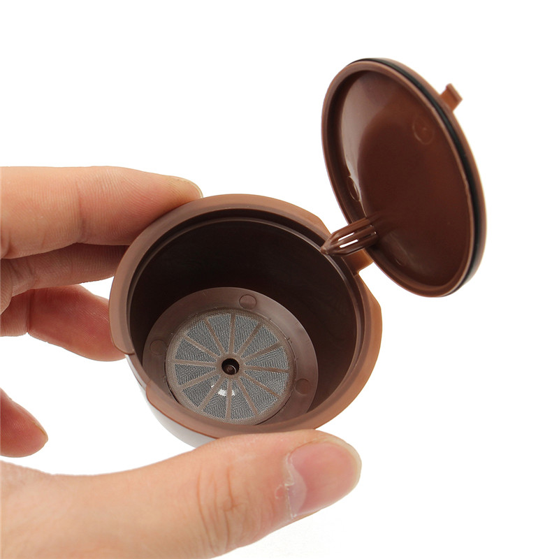 5Pcs Set Reusable Coffee Capsule Cup Coffee Filter for Dolce Gusto Machine Plastic Spoon