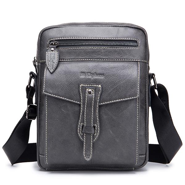 Ekphero Men Genuine Leather Vintage Laptop Crossbody Bag