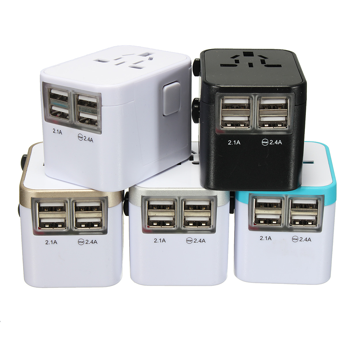 All in One Universal International Plug Adapter 4USB Ports World Travel AC Power Charger US UK AU EU