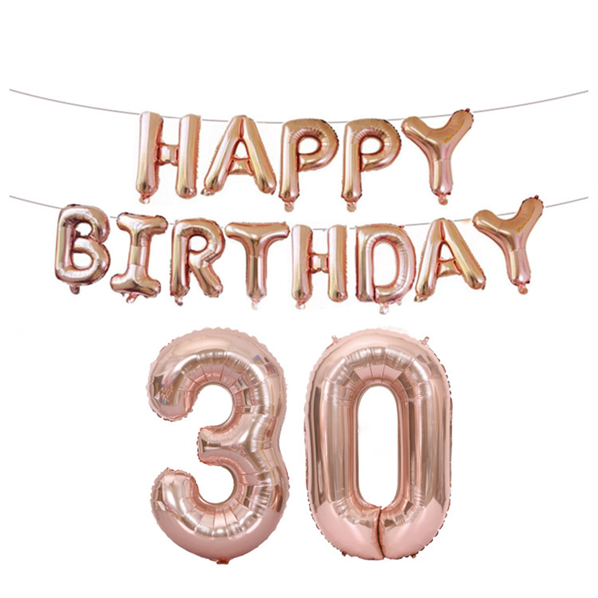 18/21/30/40/50/60th Rose Gold Happy Birthday Foil Balloon Banner Kit Party Decorations